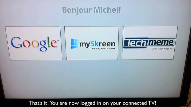 Connected Couch TV welcome screen