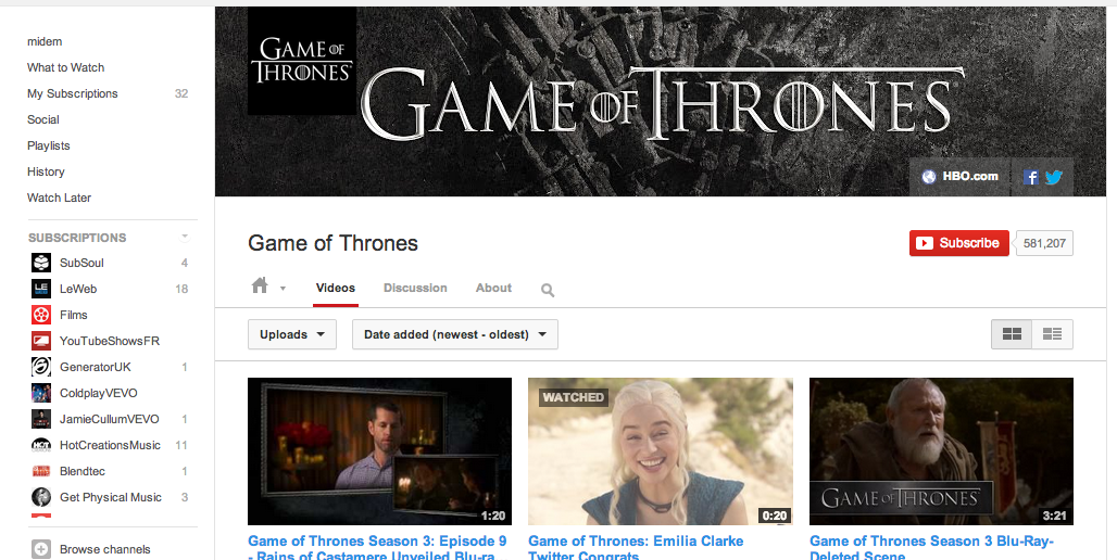 Game of Thrones' YouTube channel