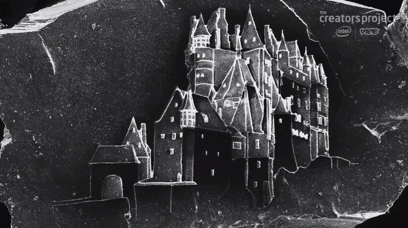 Castle etched on grain of sand