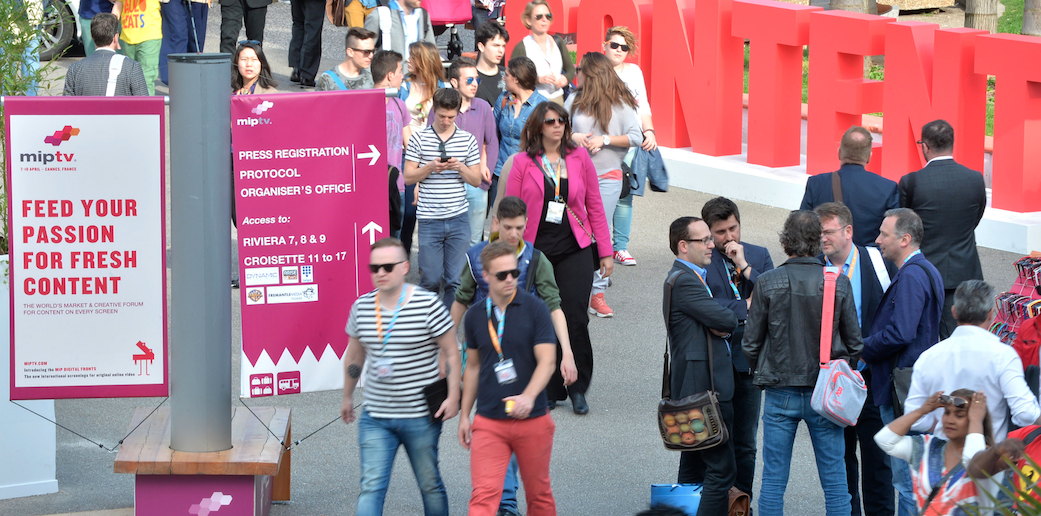 MIPTV crowds outside