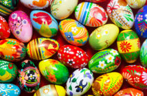 Handmade Easter eggs background. Spring patterns art, unique. © NiseriN/GettyImages