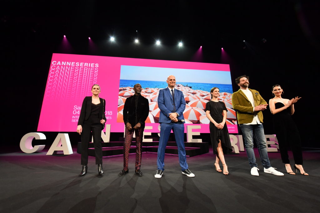 The CANNESERIES jury: Audrey Fouche (left), Michael Kenneth Williams, Harlan Coben, Paula Beer, Cristobal Tapia De Veer and Melisa Sozen
