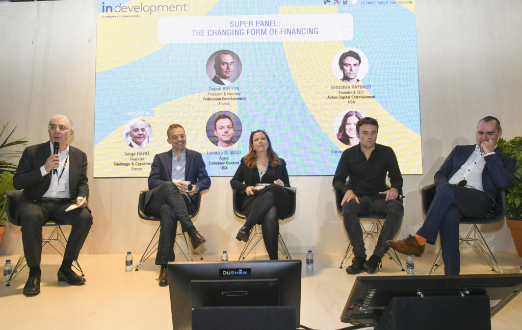 The In Development Super Panel: The Changing Form Of Financing. Pictured: Moderator Serge Hayat (left), Endeavor Content's Lorenzo Di Maio, RAI Fiction's Eleonora Andreatta, Anton Capital Entertainment's Sebastien Raybaud and Federation Entertainment's Pascal Breton